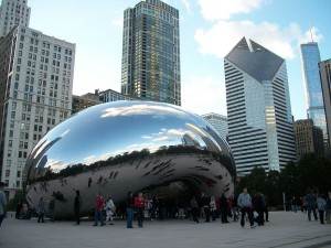 Il Cloud gate a Chicago di Kapoor